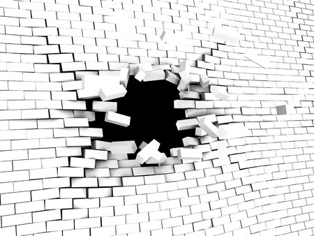 impediment: 3d illstration of breaking wall over black background Stock Photo
