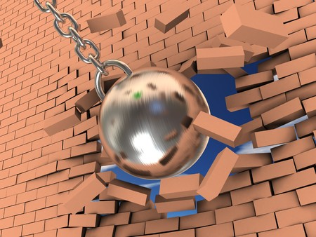3d illustration of steel ball on chain breaking wall Stock Photo
