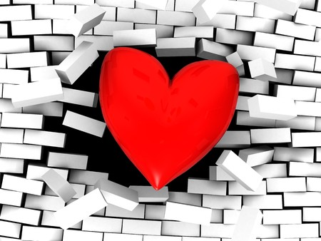 love explode: 3d illustration of stylized red heart breaking wall