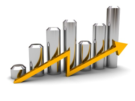 3d illustration of growing graph and arrow