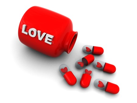 3d illustration of love pills and bottle illustration