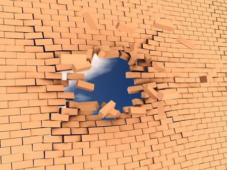 impediment: 3d illstration of breaking wall to freedom