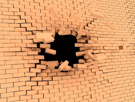 3d illstration of breaking wall to freedom