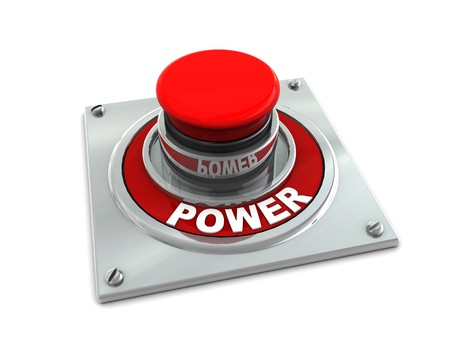 3d illustration of red button with text 'power' on white background; Stock Illustration - 4192432