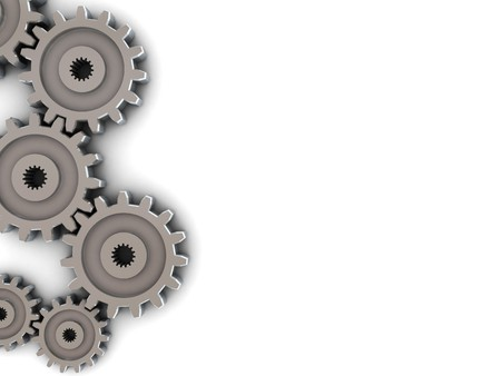gearing: 3d illustration of background with gear wheels on left side