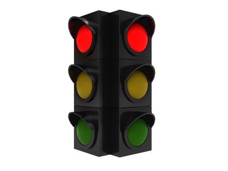 warning indicator: 3d illustration of traffic light isolated over white background Stock Photo