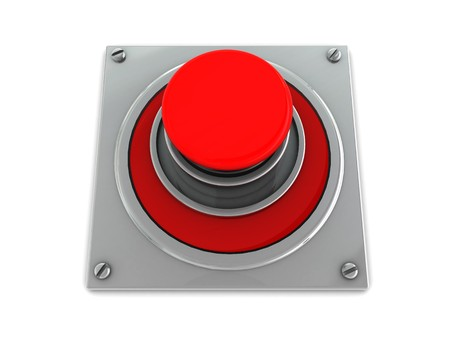 3d illustration of red button on steel plate over white background Stock Illustration - 4268916