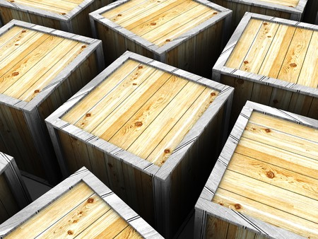 contain: 3d illustration of many wooden crates background