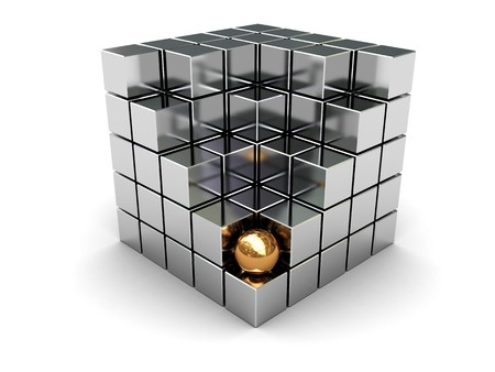 metall: abstract 3d illustration of cube built from blocks and golden ball