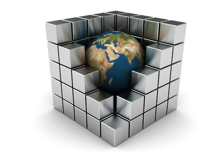 metall: abstract 3d illustration of earth in steel cubes, industry symbol