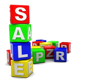 3d illustration of 'sale' text built from cubes and cubes heap at background Stock Illustration - 4268913