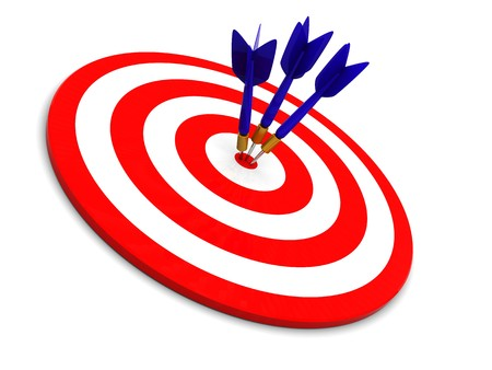 conquering: 3d illustration of darts, three arrows in target Stock Photo