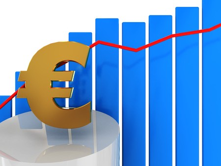 3d illustration of growing euro graph and blue bars Stock Illustration - 4268958