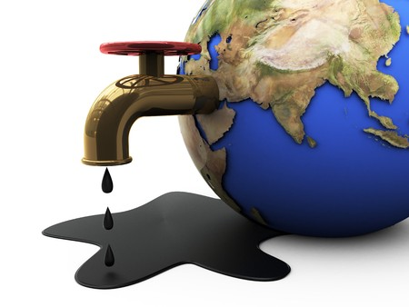 environmentalist: 3d illustration of earth in pool of oil