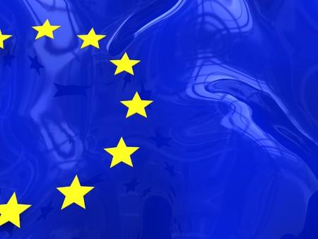 3d illustration of stylized european union flag, background illustration
