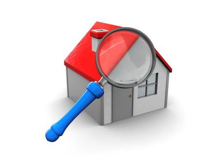housing search: 3d illustrazione di ingrandire la casa e il vetro su sfondo bianco;