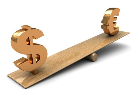 3d illustration of dollar and euro signs on scale Stock Illustration - 4268953
