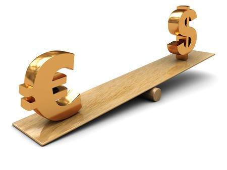 3d illustration of dollar and euro signs on scale illustration