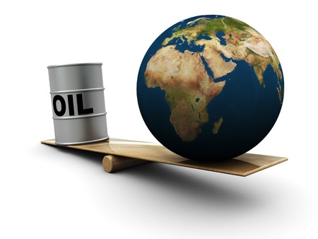 barell: 3d illustration of comparison of earth and oil