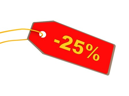 single word: 3d illustration of red ticket with 25 percent discount Stock Photo