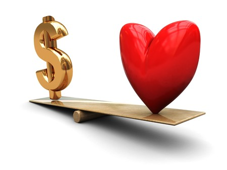 3d illustration of heart and dollar sign on scale illustration