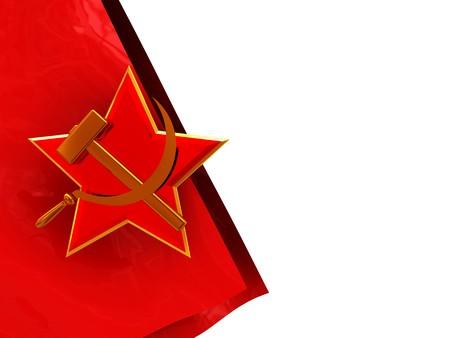 soviet flag: 3d illustration of white background and soviet flag and symbol on left side Stock Photo