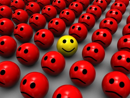 dissimilarity: 3d illustration of one happy face, with evil red faces around