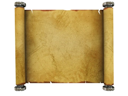 3d illustration of ancient paper scroll isolated over white background Stock Illustration - 4268979