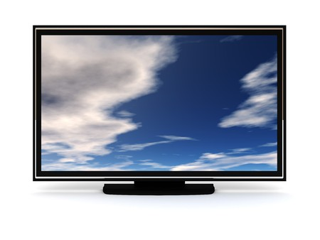 digitally generated: liquid-crystal tv isolated over white, front view