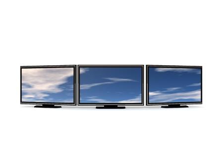 3d illustration of three lcd tv over white backgroun Stock Illustration - 4268905