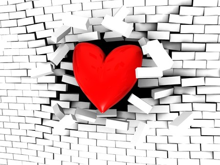 3d illustration of stylized heart breaking white brick wall