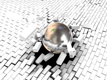 3d illustration of steel ball breaking white brick wall