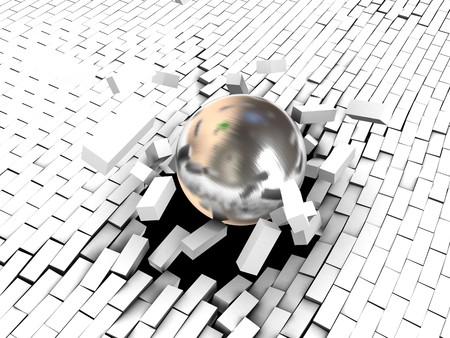 3d ilustración de bola de acero de romper la pared de ladrillo de color blanco Foto de archivo