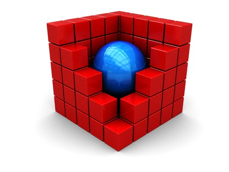 boxs: 3d illustration of blue ball in center of red box