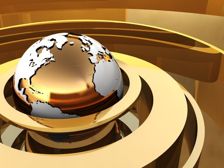 golden globe: abstract 3d illustration of golden background with earth and rings Stock Photo