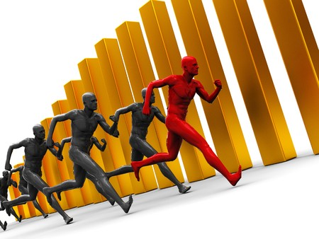 abstract 3d illustration of team with leader runing over golden bars illustration