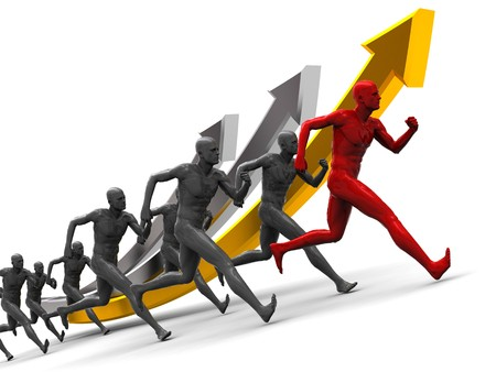 running businessman: abstract 3d illustration of running team over growing graph