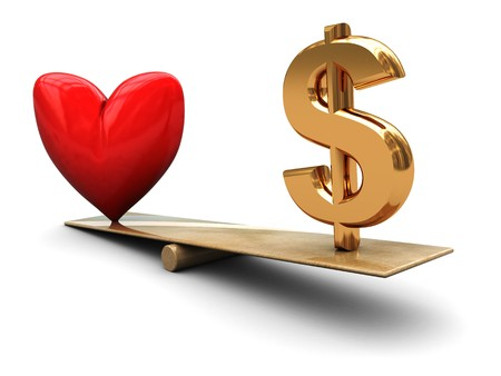 abstract 3d illustration of heart and dollar sign on board scale illustration