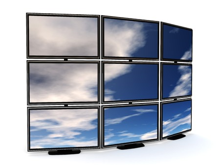 wideview: 3d illustration of presentation tv wall over white background Stock Photo