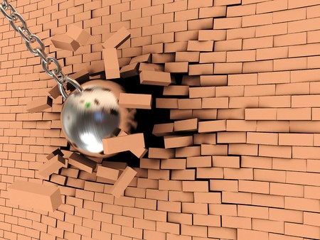 impediment: abstract 3d illustration of steel ball on chain breaking wall