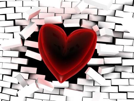 abstract 3d illustration of glass heart breaking brick wall illustration