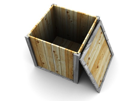 abstract 3d illustration of empty wooden crate Stock Illustration - 4302409
