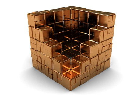 boxs: abstract 3d illustration of cube structure Stock Photo