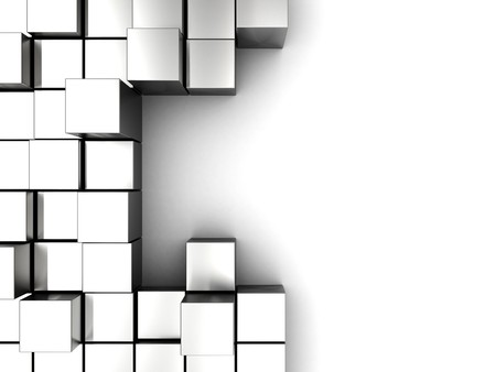 abstract 3d illustration of white background with cube blocks Stock Photo