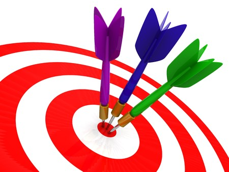 abstract 3d illustration of darts closeup, over white background illustration