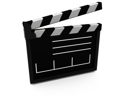 syncing: abstract 3d illustration of film cut equipment over white background