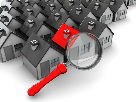 abstract 3d illustration, group of houses and magnify glass illustration