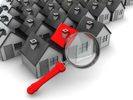 housing search: astratta 3d illustrazione, il gruppo di case e ingrandire vetro