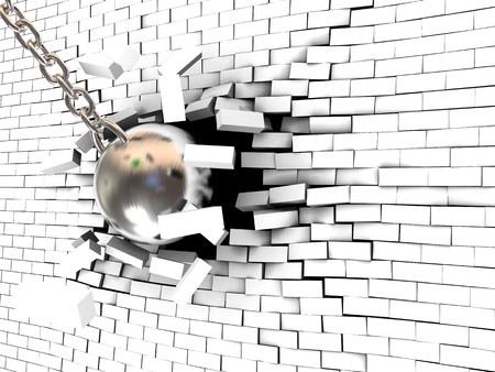 barrier free: abstract 3d illustration of steel ball breaking wall