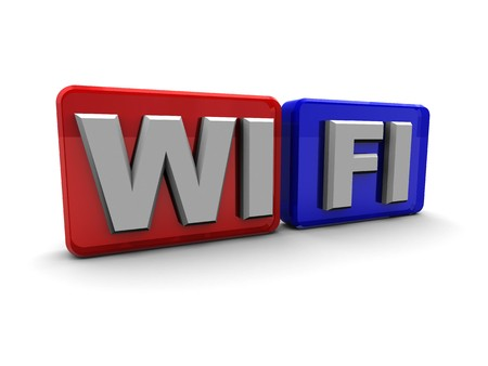 wifi sign: 3d illustration of wi-fi symbol over white background